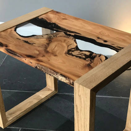 English Yew Side Table with Clear Epoxy River
